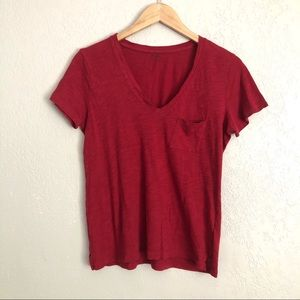 Madewell Red V-Neck Pocket T-Shirt Size Small